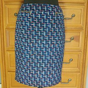 Alex Marie Pencil Skirt Faux Pockets Career Skirt